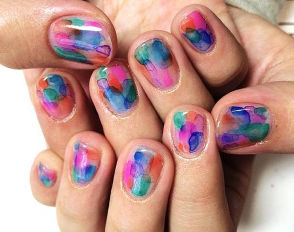 Watercolor nail art-40