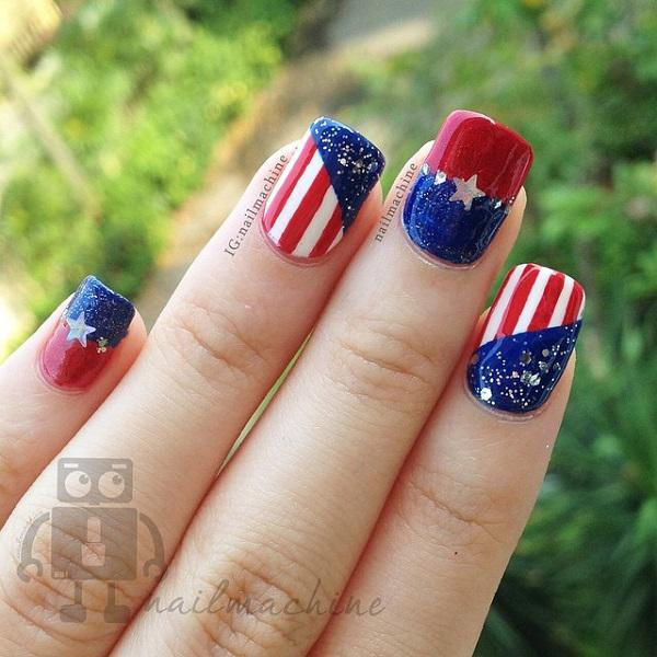 50 blue nail art designs art and design very beautiful fourth of july themed nail art design this design uses dark blue prinsesfo Gallery