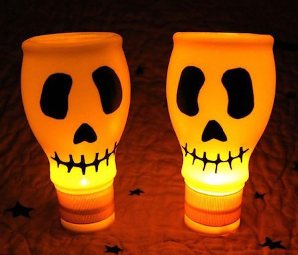 skull lights were created using empty milk bottles