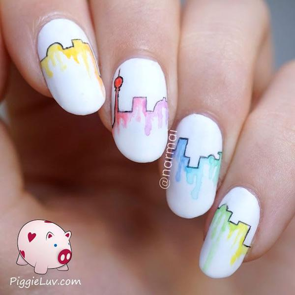 water color city skyline nail art