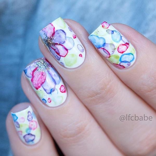 water color nail art