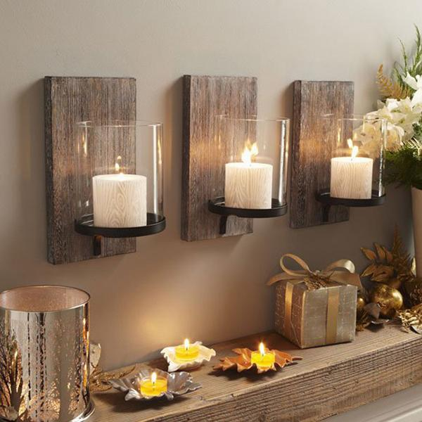 Amusing hgtv xmas decor-ideas with white flower and hanging candles also grey wall color