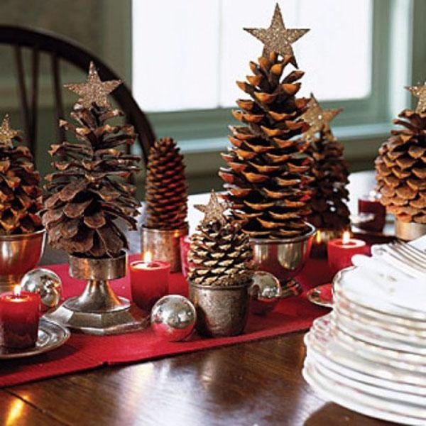 Appealing decor ideas for christmas with small pine cones combined star in top also red candle and silv