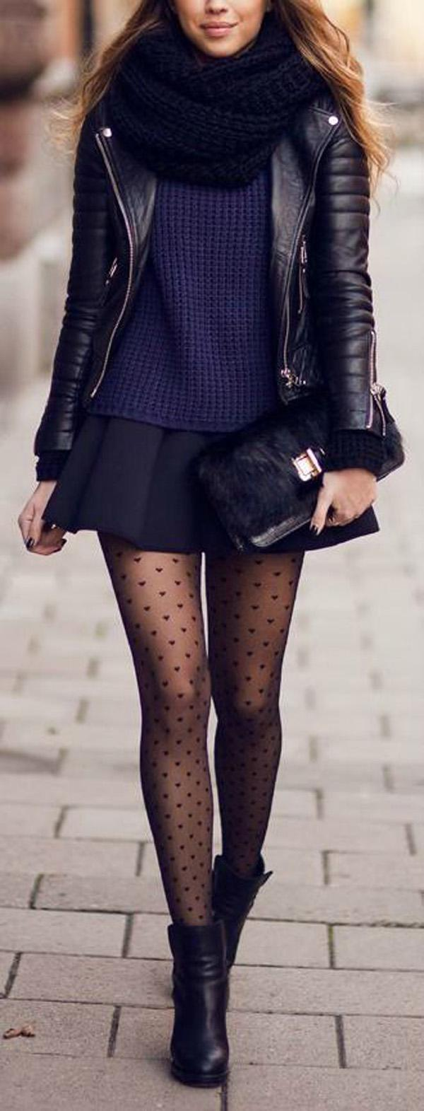 Cute Leather Jackets with mini  skirt and dots stockings