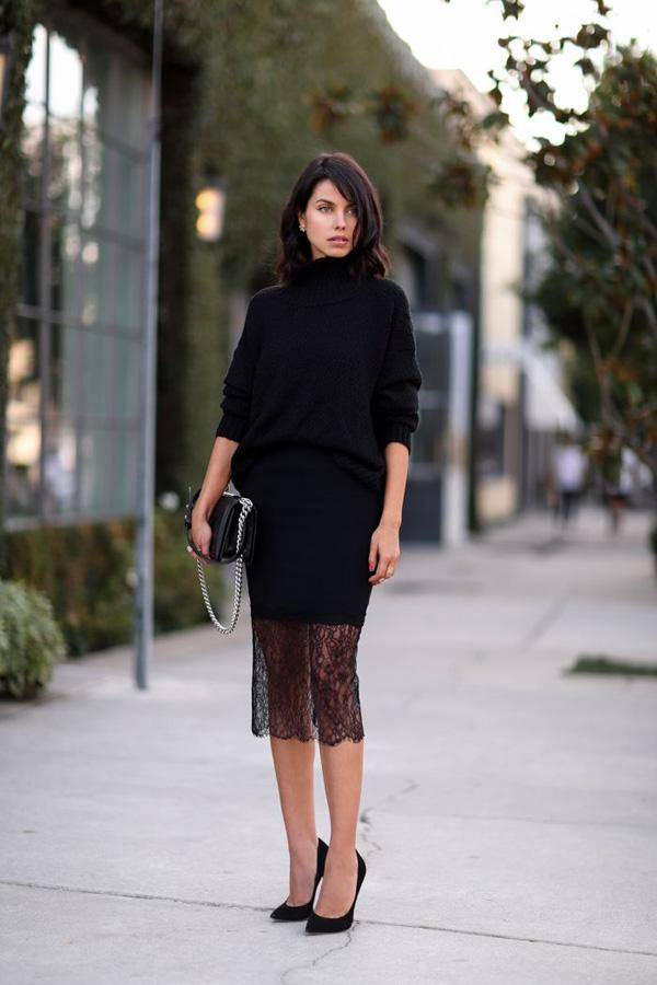 Generous black sweater with lace long skirt