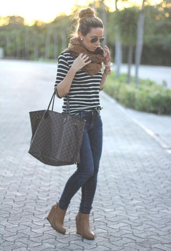 Muffler and sweaters with Jeans