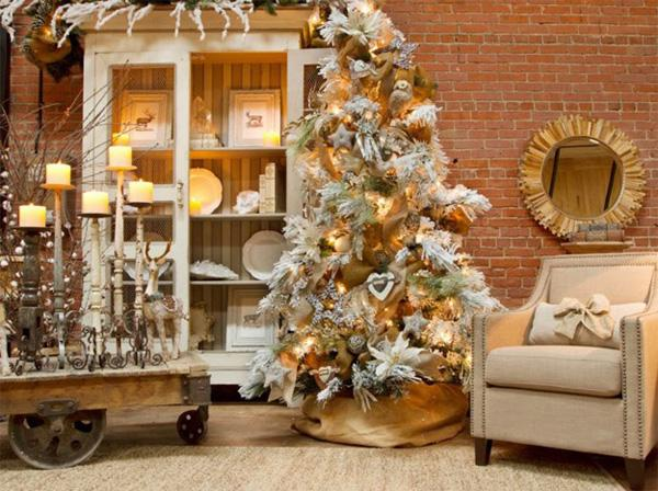 a really cozy and cute looking indoor christmas decor adding the wheelbarrow table into the - Indoor Christmas Decorations Ideas