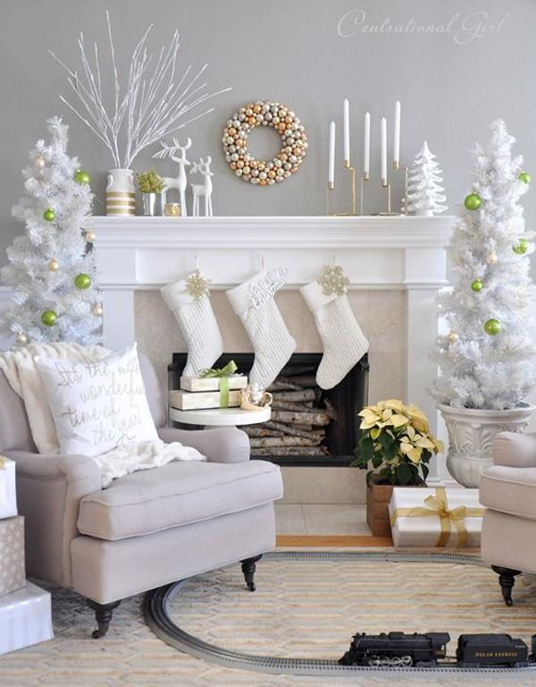 white and gold themed decor if you like the serenity that white christmas gives