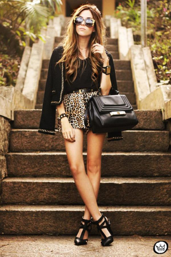 animal print leopard shorts