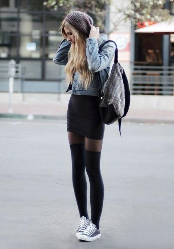 denim jacket with black skirt coupled with canvas shoes casual style for fall