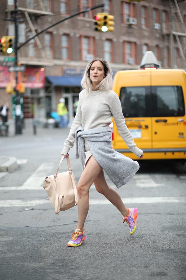 flourescent sneakers with classic gray outfit