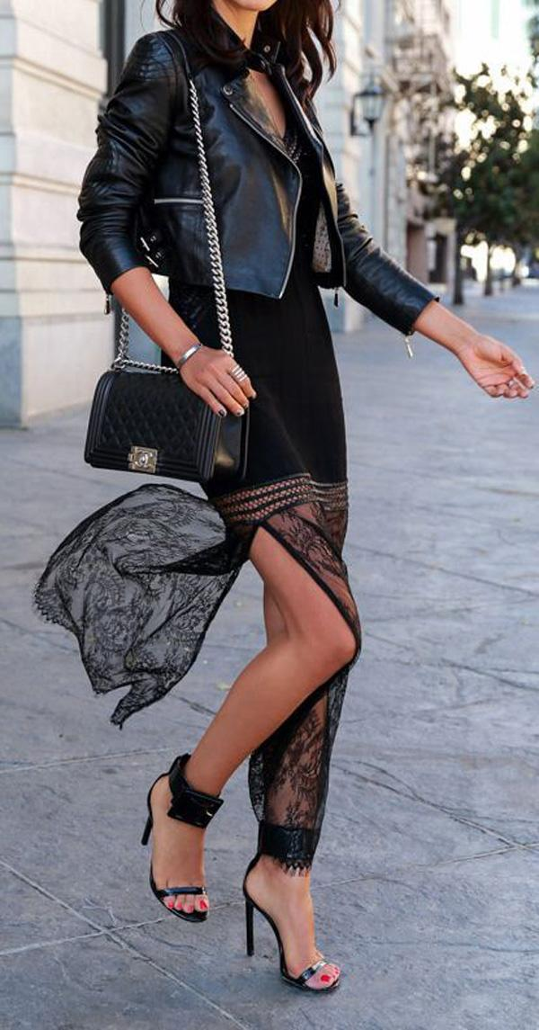 leather Jackets with split full skirt