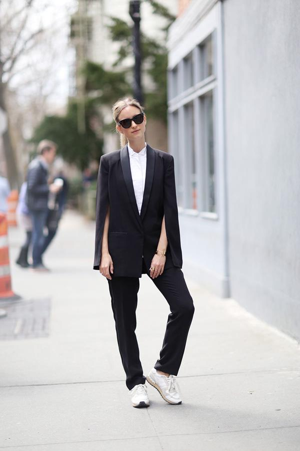 sneakers with androgynous outfit