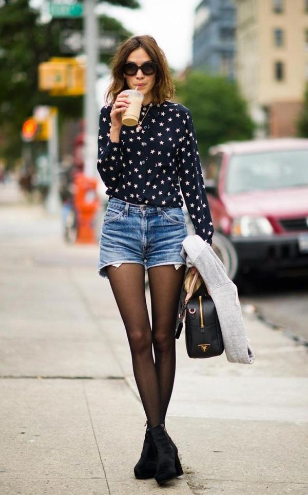 tights and denim shorts alexa chung