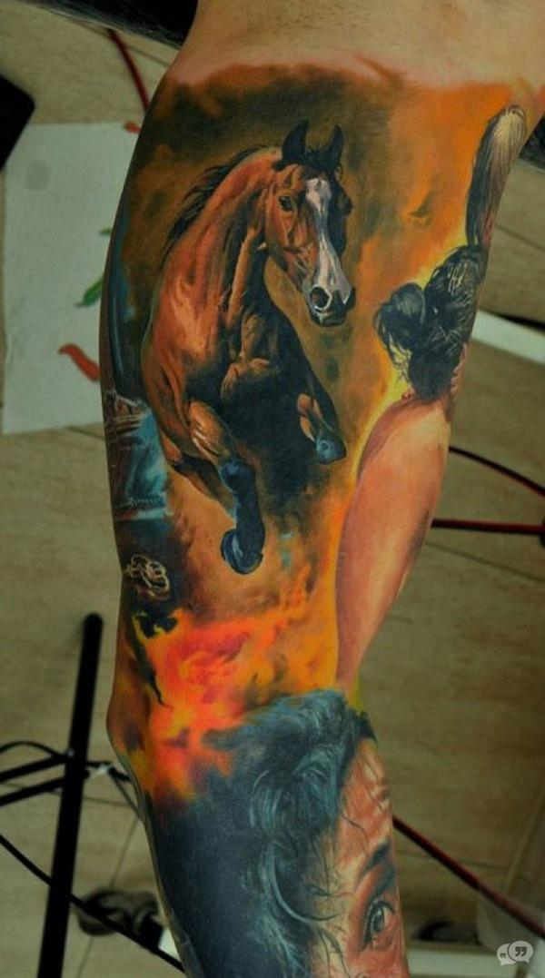 3D horse tattoo on sleeve
