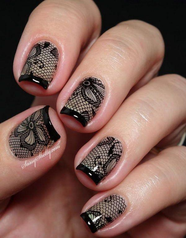 Amazing black net and floral nail art design with French tips. - 40 Black Nail Art Ideas Art And Design
