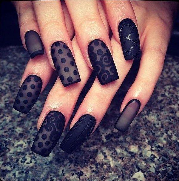 Beautiful satin inspired black polka dot nail art design. Make your nails  look as sophisticated ... - 40 Black Nail Art Ideas Art And Design