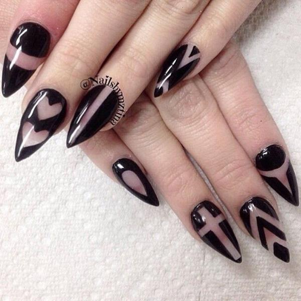 40 black nail art ideas art and design random shapes black and clear polish design draw various designs such as lines prinsesfo Gallery