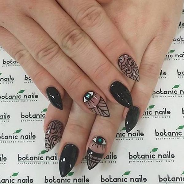 Design black polish nail art design and clear coat frame your nails