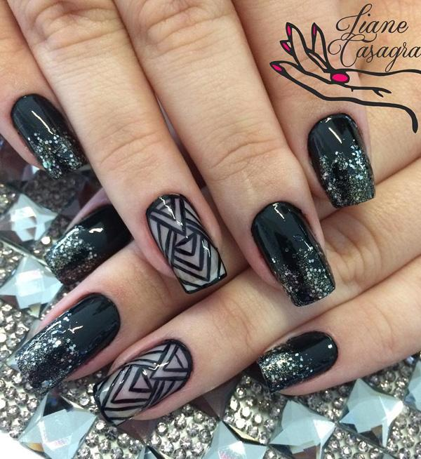 40 black nail art ideas art and design tribal looking black nail art design the black sequins tip is a good boost for prinsesfo Images