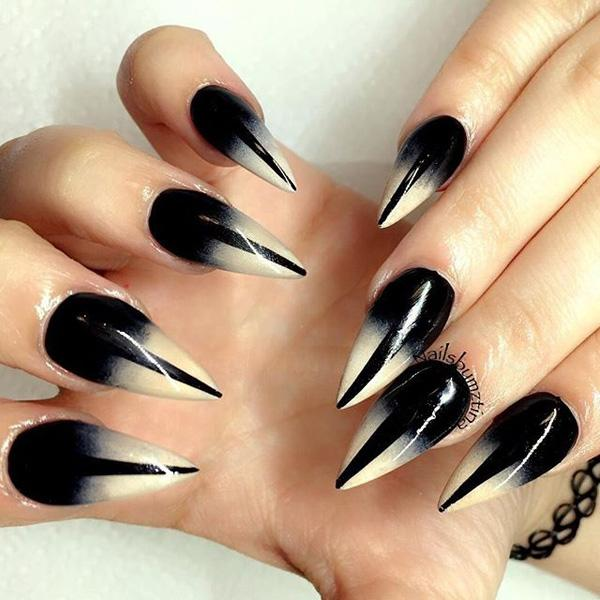 Black and white gradient nail art design. Start to play with the gradient  design and ... - 40 Black Nail Art Ideas Art And Design