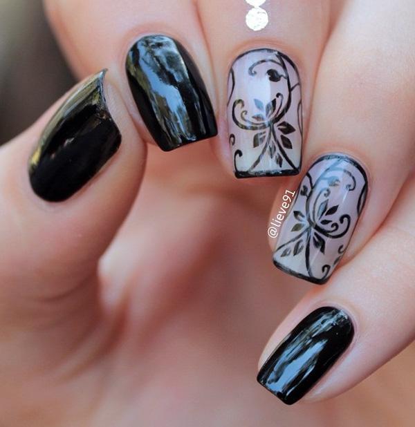 Black Nail Art-23