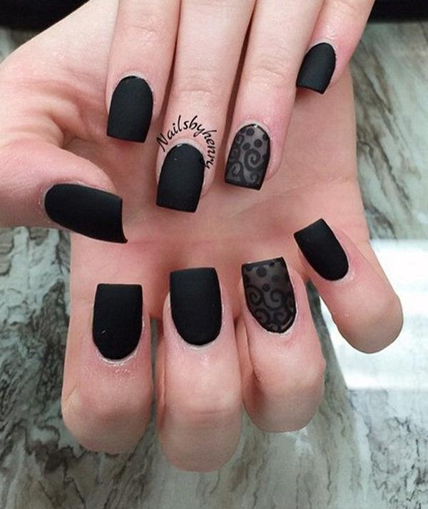 Matte black nail polish with lace design. Be bold and black with this  amazing looking ... - 40 Black Nail Art Ideas Art And Design