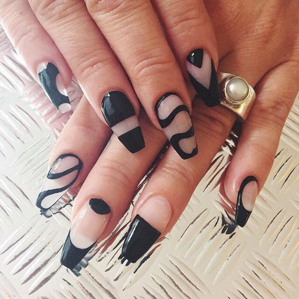 Abstract black and clear nail polish design. Play around with clear nail  polish and black ... - 40 Black Nail Art Ideas Art And Design