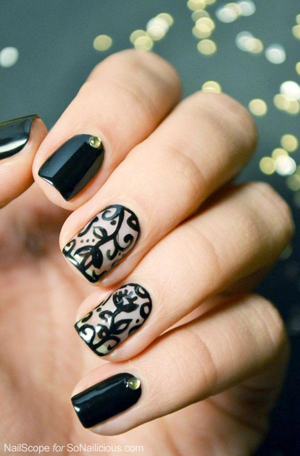 40 black nail art ideas art and design black nail art 40 black nail art ideas prinsesfo Images
