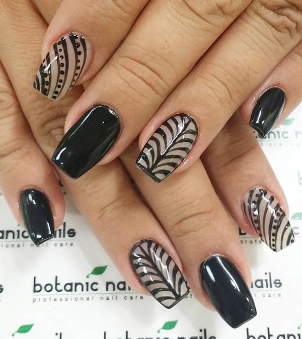 Feather inspired black and white nail art. A wonderful looking nail art  design that is ... - 40 Black Nail Art Ideas Art And Design