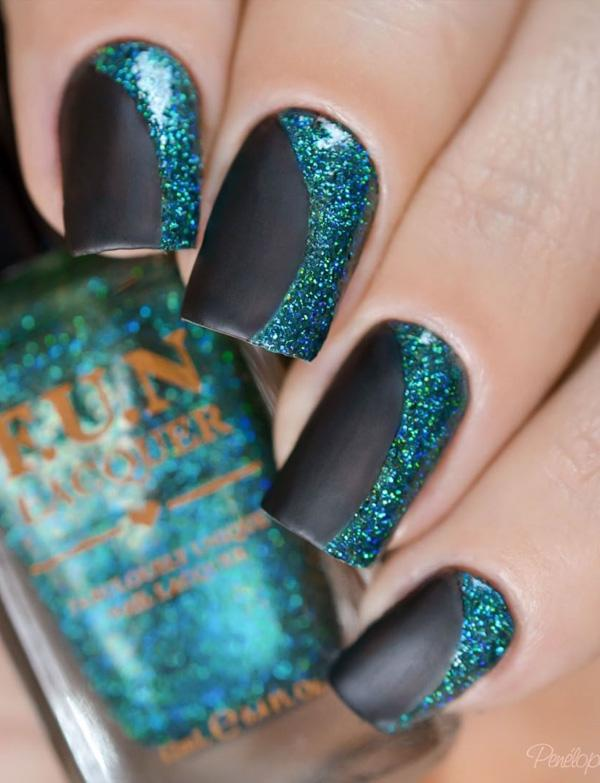 Black, blue and... French Tip Nail Designs With Glitter