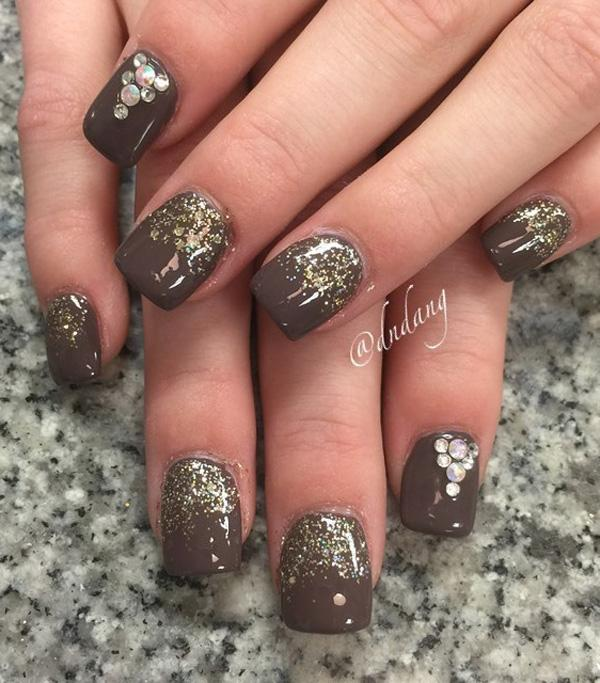Brown and glitter nail art