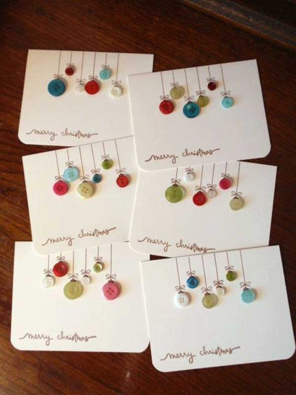 Buttons, glue, felt tip pens, easy Christmas postcard gift
