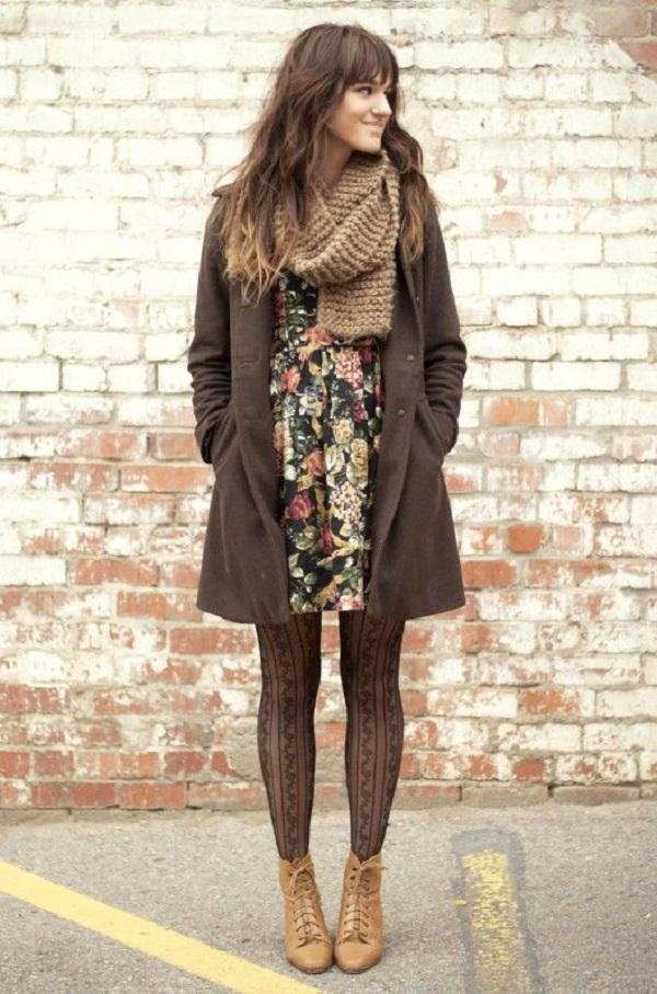 Camel vintage boots black floral dress army green vintage coat-brown scarf