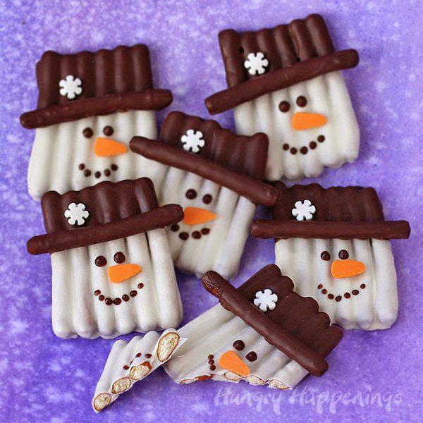 Chocolate Pretzel Snowman Craft