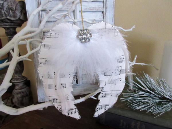Christmas Ornaments , Angel Wings , Sheed Music Angel Wings , Shabby Chic Decor