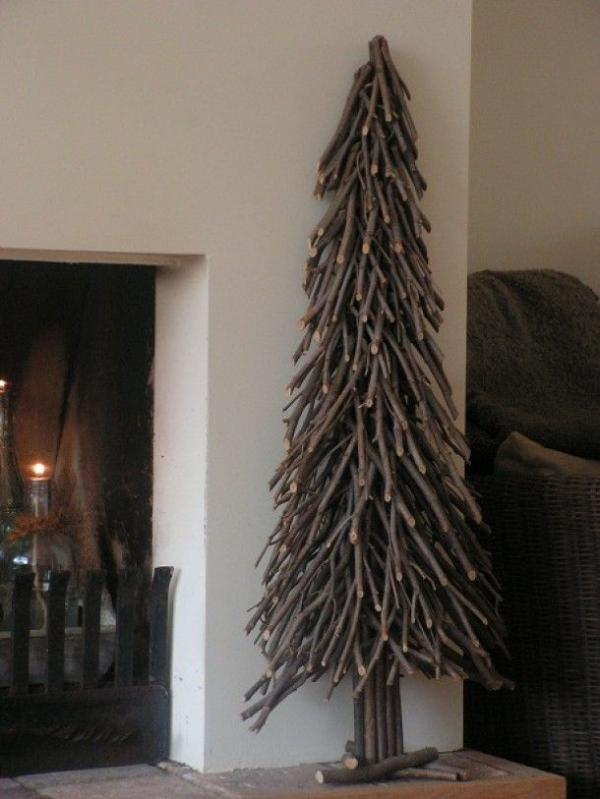 DIY christmas tree made with branches