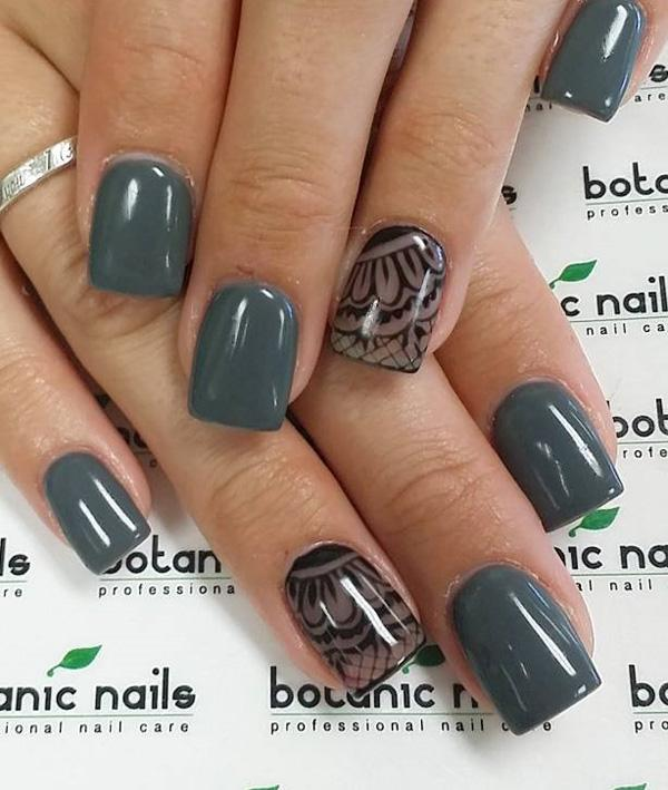 Winter Laces Nail Art Design Paint Your Nails In Matte Dark Green Colors And Decorate