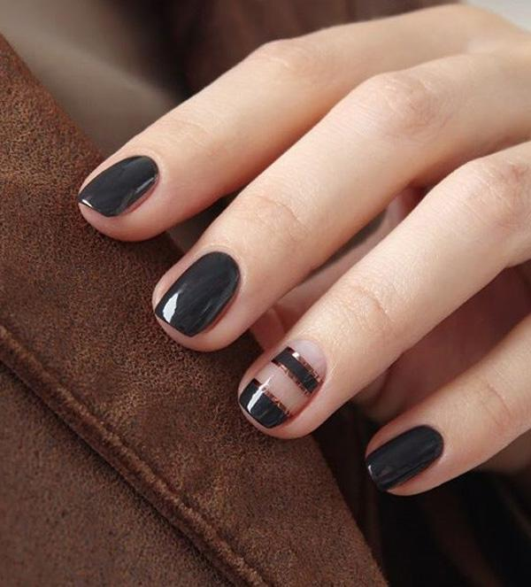 Black and bronze winter nail art design. If you have short nails you can  always ... - 65 Winter Nail Art Ideas Art And Design
