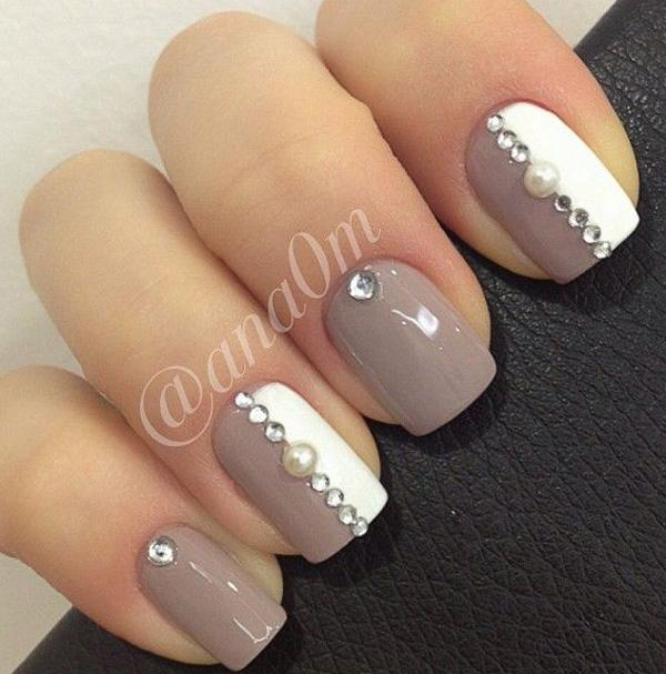 Gray and white nail art