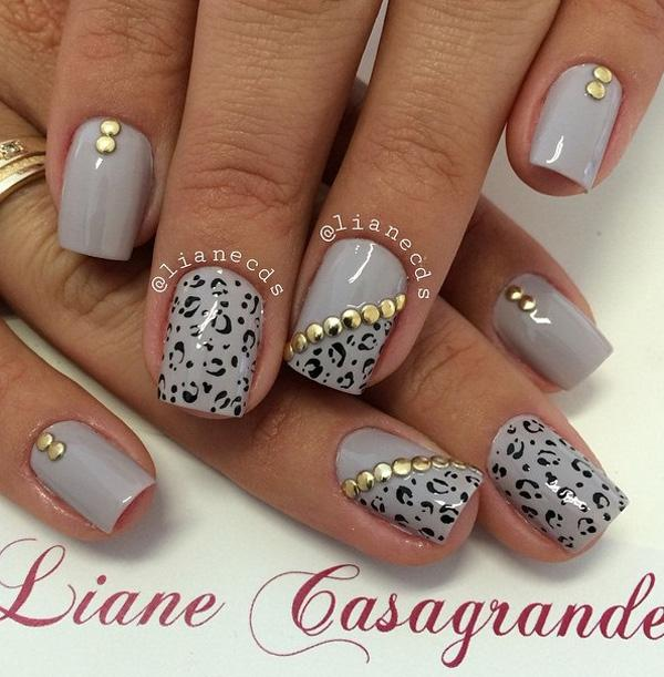 Gray leopard nail art