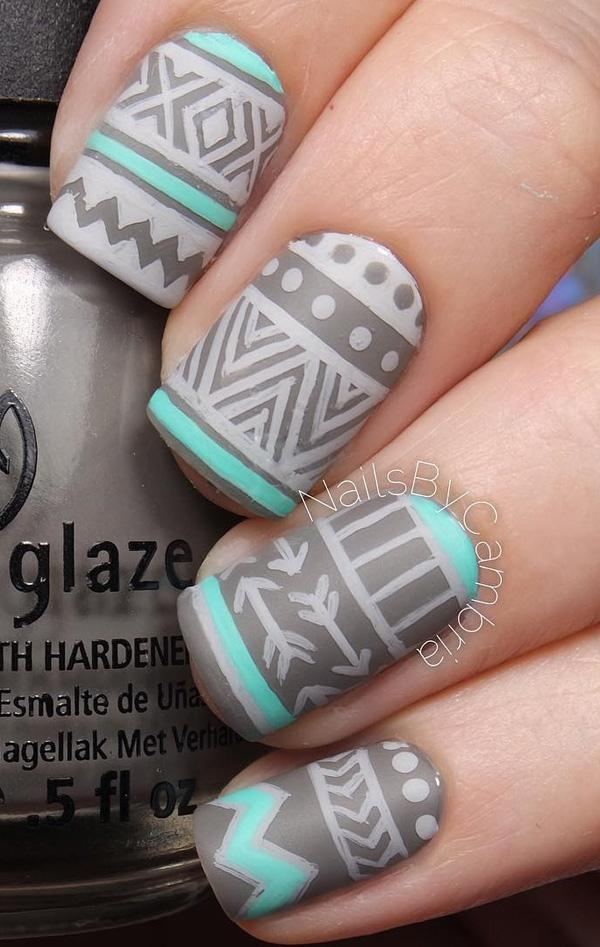 Gray tribe nail art