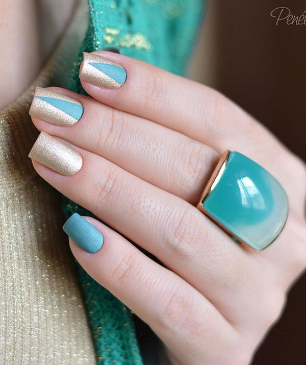 Blue and gold winter nail art design. Touch on the sift side of winter with  ... - 65 Winter Nail Art Ideas Art And Design
