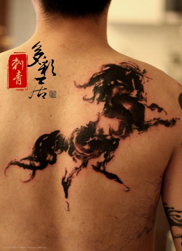 Ink horse on back