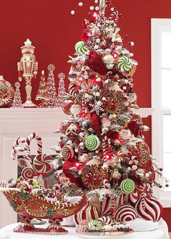 christmas treat themed christmas tree in red make your christmas tree explode with treats and - Candy Ornaments For Christmas Tree