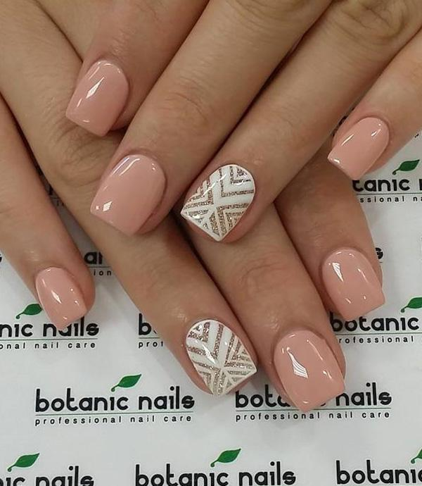Nude color and white lace nail art