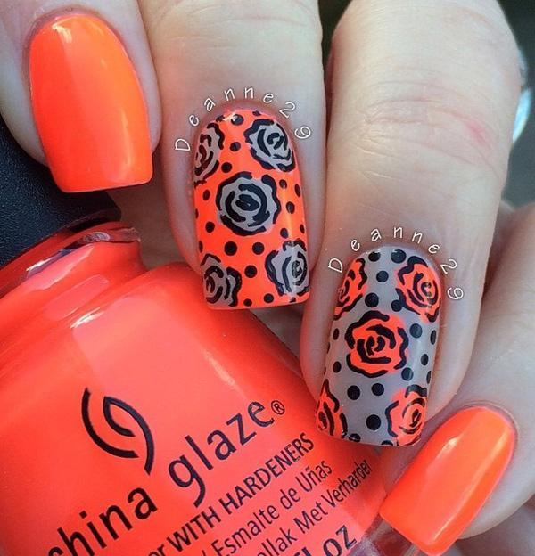 Orange with flower nail art for winter