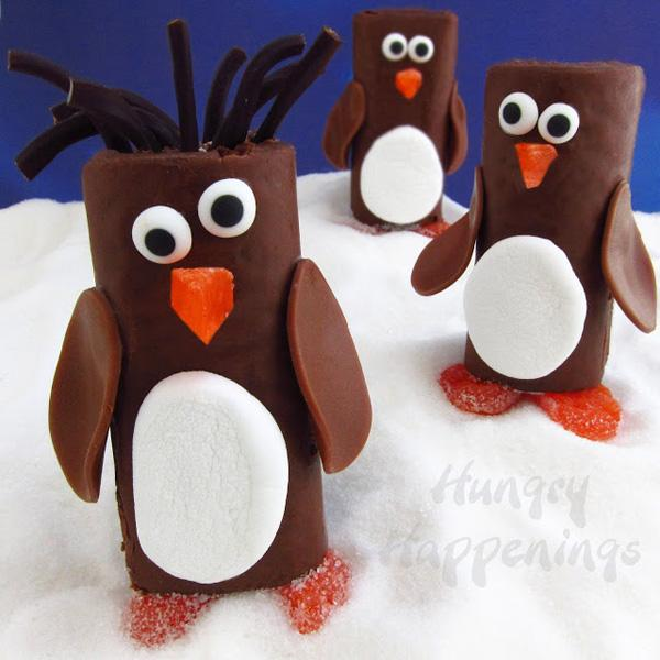 Penguin Snack Cake chocolate Little Debbie Swiss Roll Penguins Hostess Ho Ho Penguins Christmas edible craft