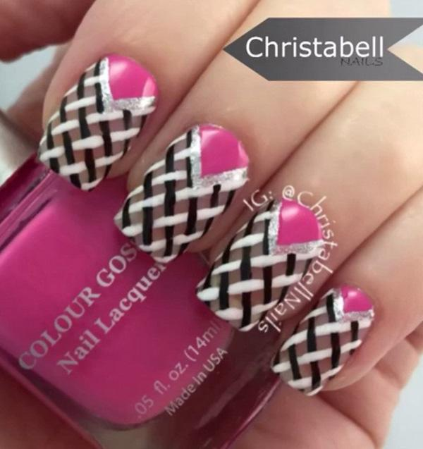 Pink and black grid nail art design