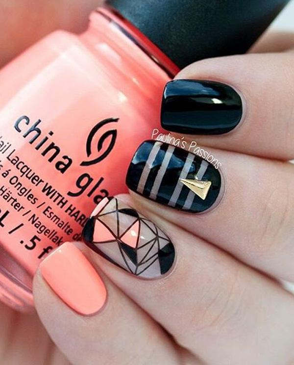 Pink and black  nail for winter